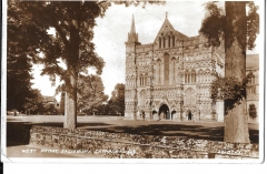 postcard- west front salisbury cathedral, wiltshire posted c1930s # 1470