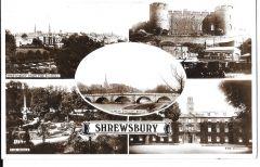 postcard - multiview of shrewsbury, shropshire,england unposted real photo c 1960s # 1489
