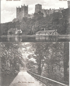 two vintage postcards,durham,england,unused c 1930s #2876