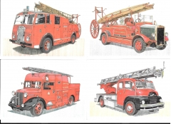 potcards showing four fire engines - limited edition set #2877