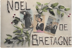 postcard,greetings,noel de bretagne,postally used 1908,#2892