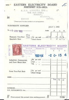 eastern electricity invoice july 7th 1953 #888a