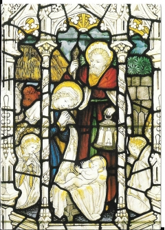 postcard- nativity scene- stained glass window in wells cathedral unposted #9010