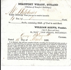 ephemera- coal merchant's delivery note- 16th march 1839 -william reeve,vendor #901