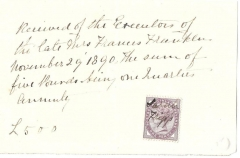 receipt dated 29th november 1890 of the executors of the late mrs francis franklin -