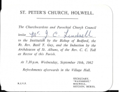 invitation from st peter's church, holwell,hitchin,herts -induction of rev.c c toll 19th sept 1962 #890