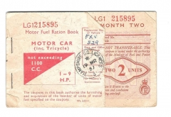 motor fuel ration book - motor car including trcycle) 19th march 1957 #894